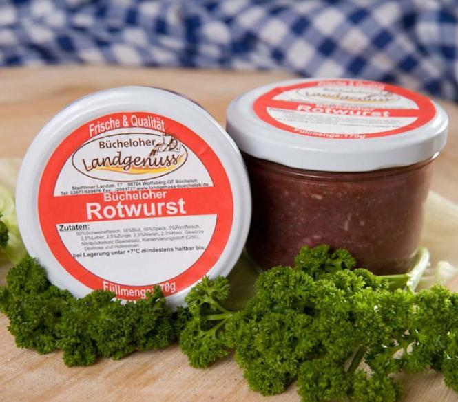 Bücheloher Rotwurst. Füllmenge: 170 gr
